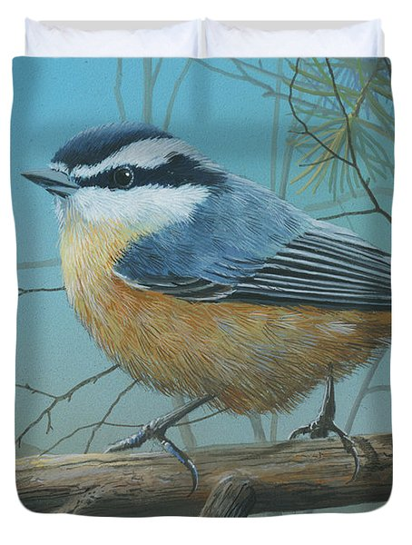 Red Brested Nuthatch Duvet Cover
