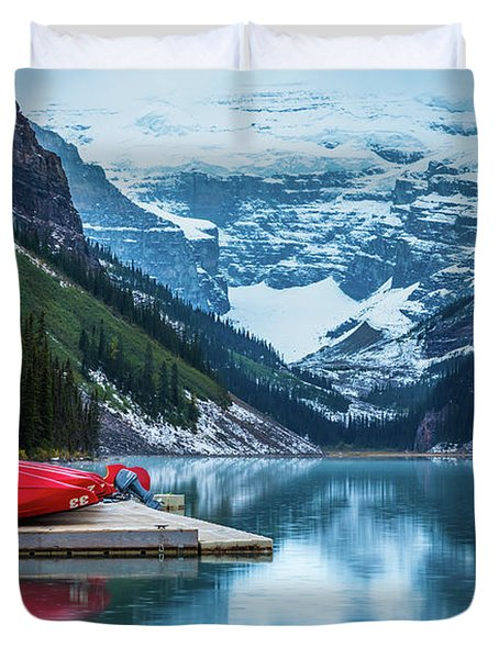 Red Canoes In The Rain Duvet Cover