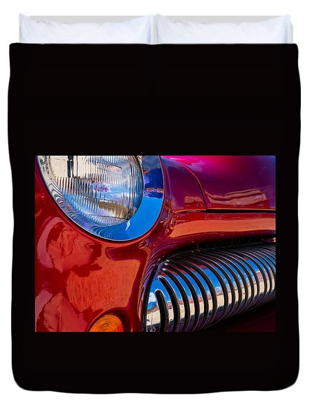 Red Car Chrome Grill Duvet Cover