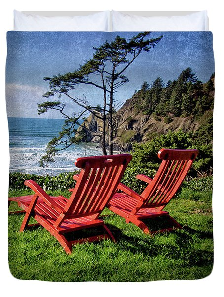 Duvet Cover featuring the photograph Red Chairs At Agate Beach by Thom Zehrfeld