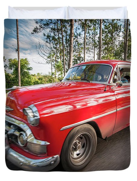 Red Classic Cuban Car Duvet Cover