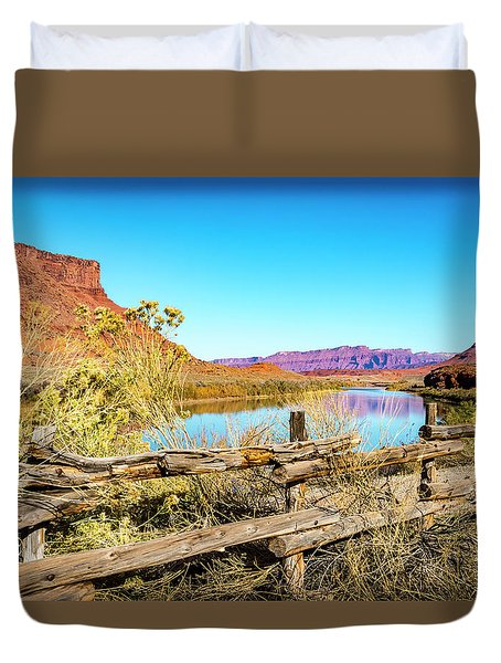 Duvet Cover featuring the photograph Red Cliffs Canyon by David Morefield