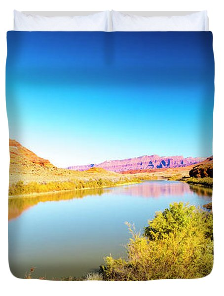 Duvet Cover featuring the photograph Red Cliffs Canyon Panoramic by David Morefield