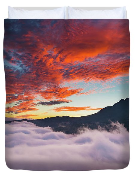 Red Dawn At Rice Terraces Duvet Cover
