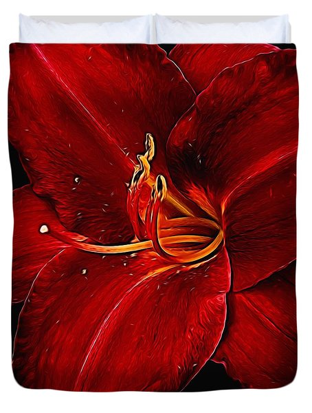Red Daylily On Black Duvet Cover