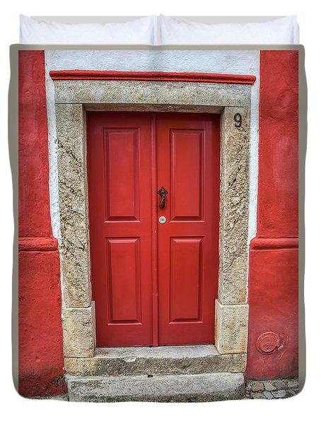 Red Door Nine Of Obidos Duvet Cover
