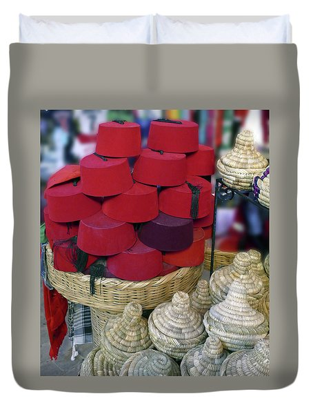 Red Fez Tarbouche And White Wicker Tagine Cookers Duvet Cover