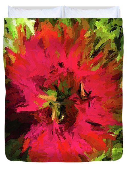 Red Flower Flames Duvet Cover