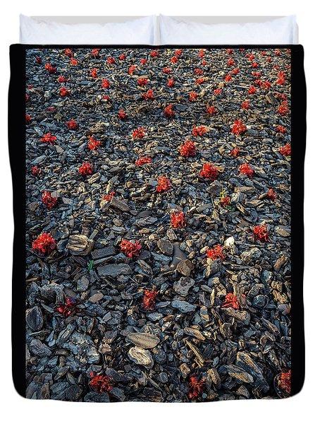 Red Flowers Over Stones Duvet Cover