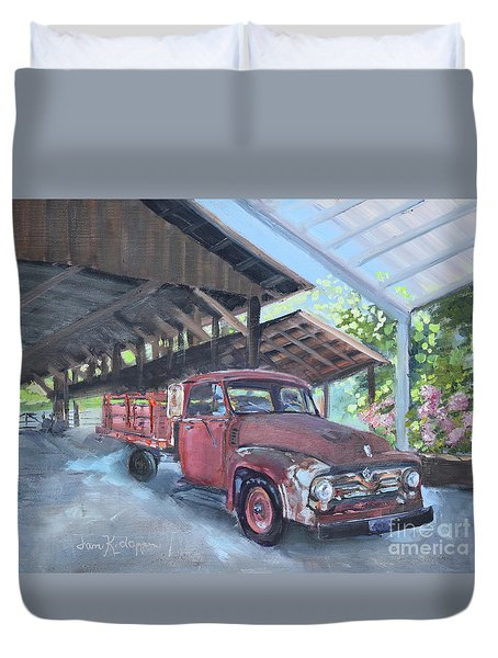 Duvet Cover featuring the painting Red Ford And Pink Flowers by Jan Dappen
