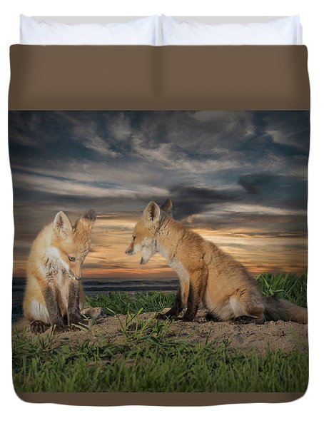 Red Fox Kits - Past Curfew Duvet Cover