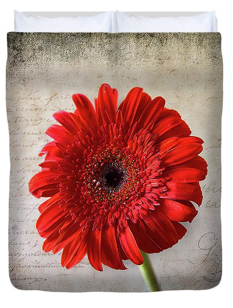 Duvet Cover featuring the photograph Red Gerbera by Milena Ilieva