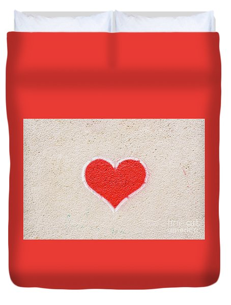 Red Heart Painted On A Wall, Message Of Love. Duvet Cover