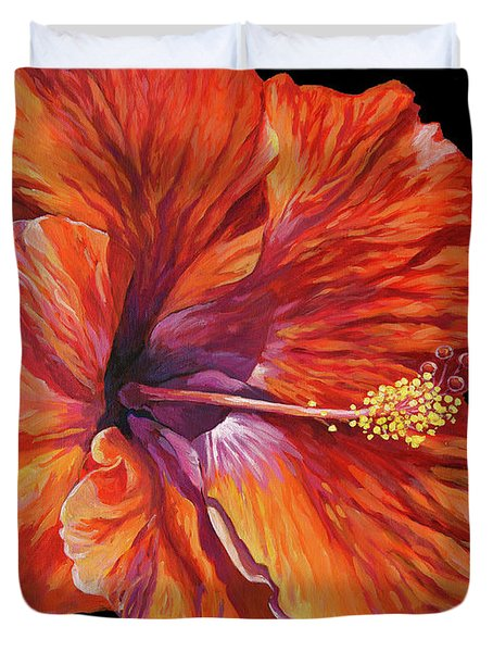 Red Hibiscus On Black Duvet Cover