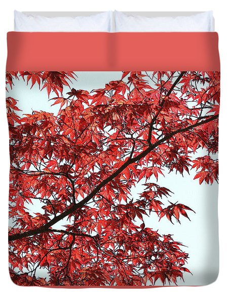 Duvet Cover featuring the photograph Red Japanese Maple Leaves by Debi Dalio
