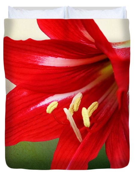 Red Lily Flower Duvet Cover