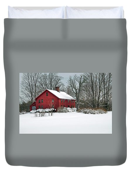 Red New England Colonial In Winter Duvet Cover