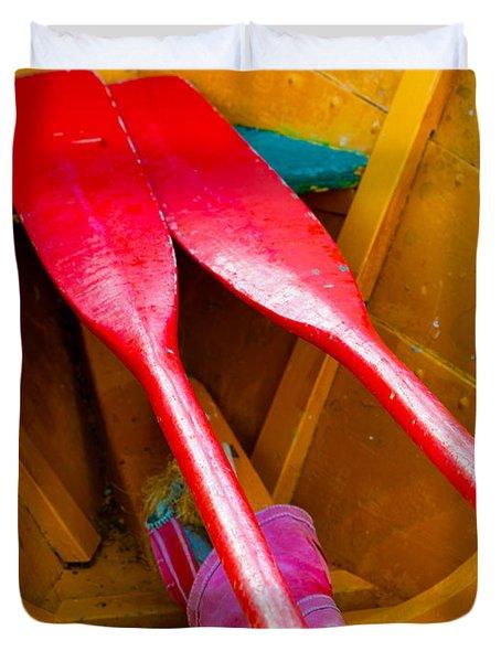 Red Oars Duvet Cover