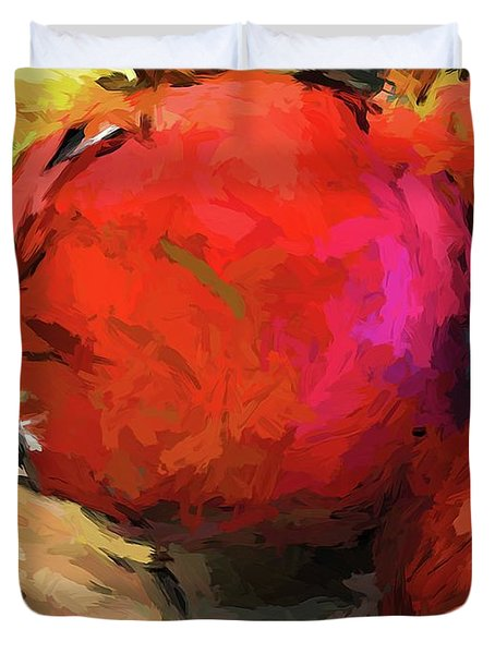 Red Pomegranate In The Yellow Light Duvet Cover