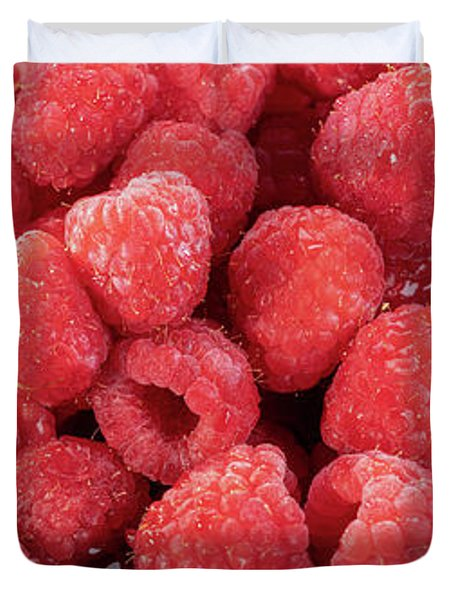 Red Raspberries In A Bowl Duvet Cover