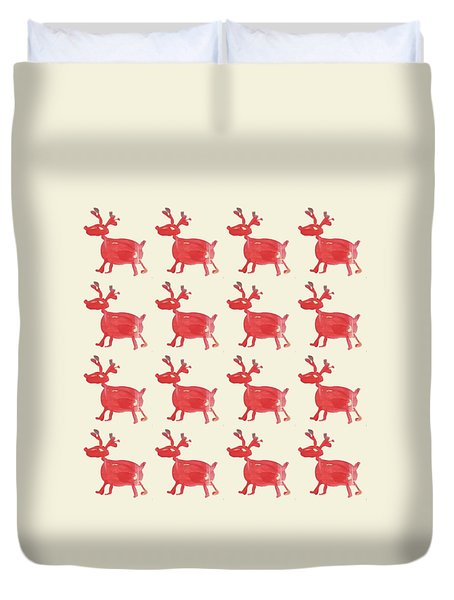 Red Reindeer Pattern Duvet Cover