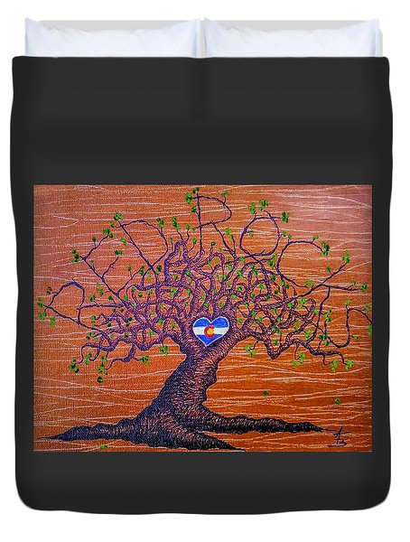 Duvet Cover featuring the drawing Red Rocks Lta W/ Foliage by Aaron Bombalicki