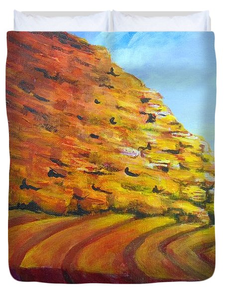 Duvet Cover featuring the painting Red Rocks by Saundra Johnson