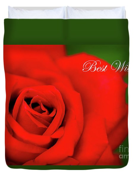 Red Rose Best Wishes Duvet Cover