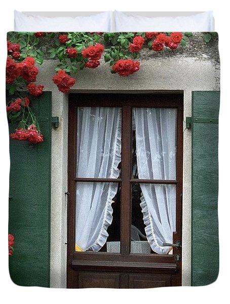 Red Rose Door Duvet Cover