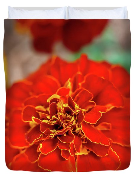 Red Summer Flowers Duvet Cover