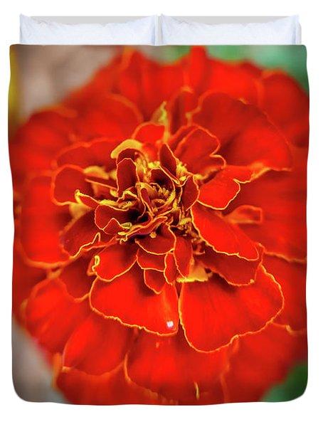 Red Summer Flowers Duvet Cover