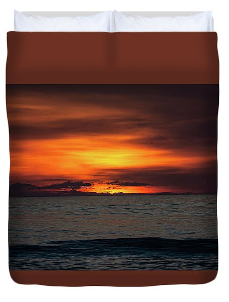 Duvet Cover featuring the photograph Red Sunrise by Lora J Wilson