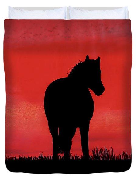 Red Sunset Horse Duvet Cover