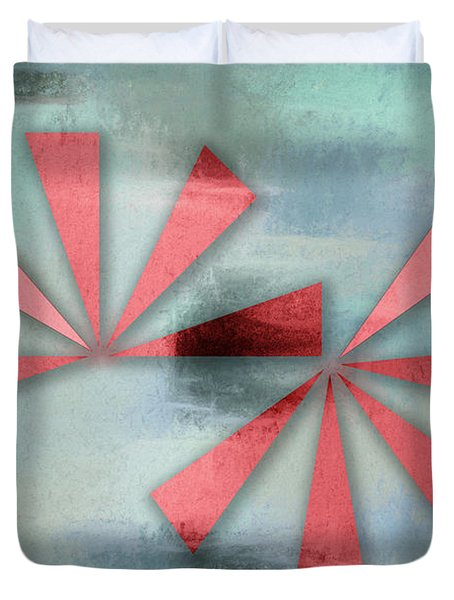Red Triangles On Blue Grey Backdrop Duvet Cover