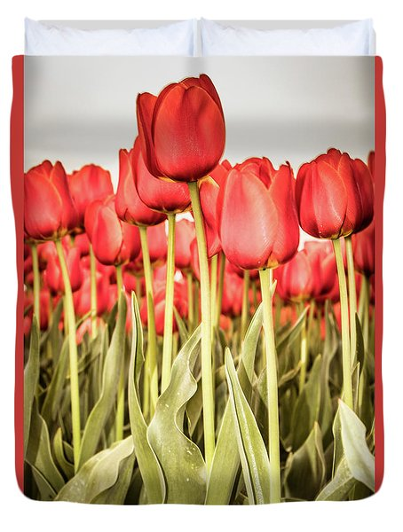 Duvet Cover featuring the photograph Red Tulip Field In Portrait Format. by Anjo Ten Kate