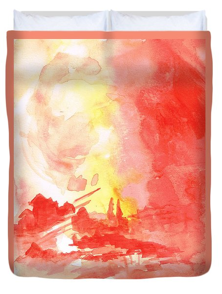 Red Village Abstract 1 Duvet Cover