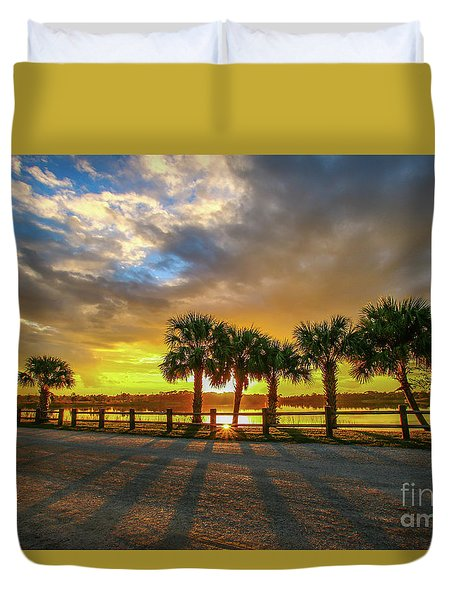 Duvet Cover featuring the photograph Reflected Sunburst by Tom Claud