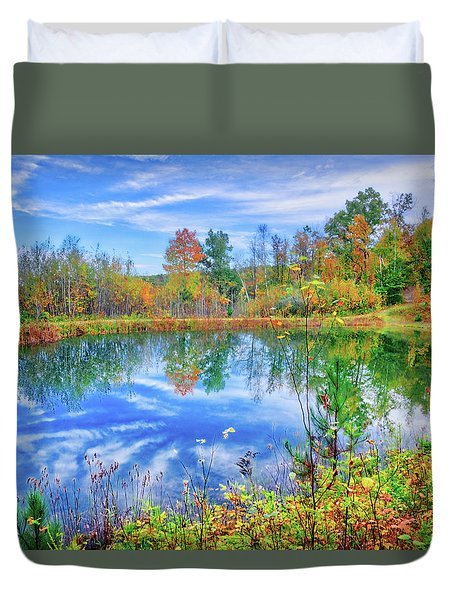 Duvet Cover featuring the photograph Reflecting On Fall At The Pond by Lynn Bauer