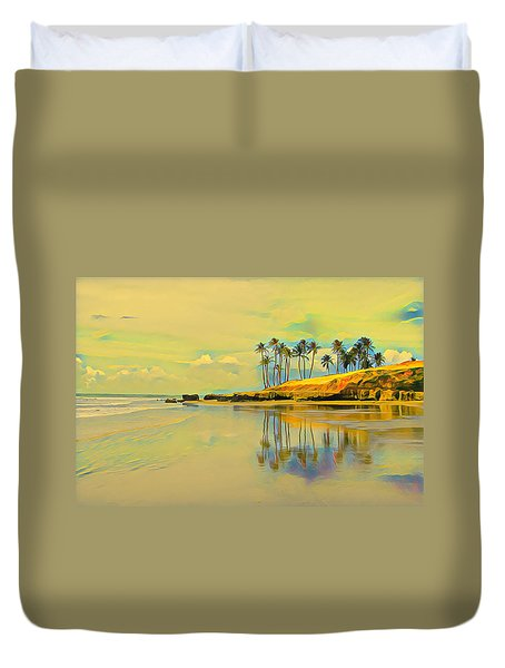 Reflection Of Coastal Palm Trees Duvet Cover