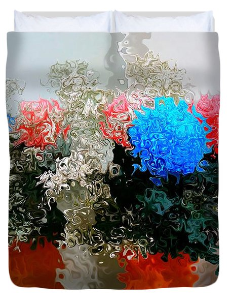 Reflection Of Flowers In The Mirror In Van Gogh Style Duvet Cover