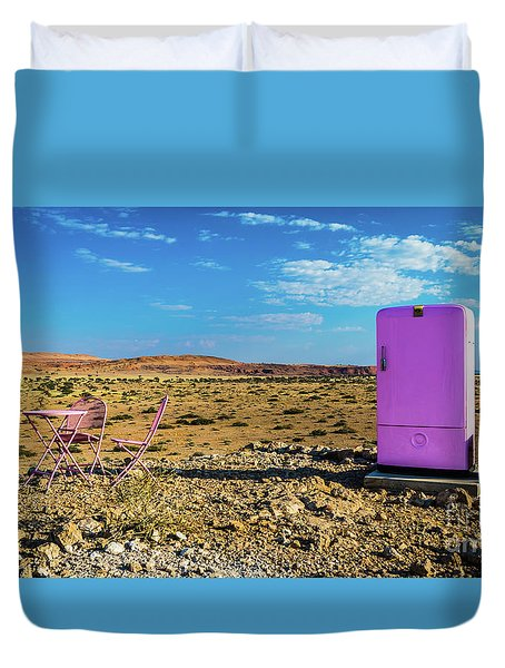 Refreshments Pit Stop In The Middle Of Nowhere Duvet Cover