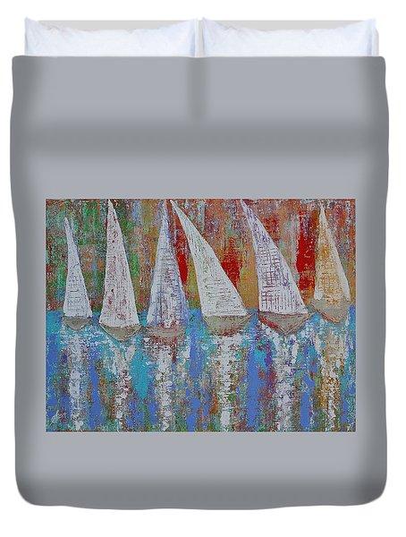 Regatta Original Painting Duvet Cover