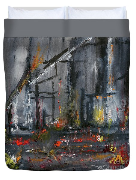 Duvet Cover featuring the painting Remains by Karen Fleschler