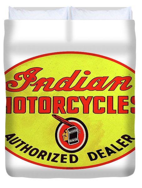 Retro Indian Motorcycles Duvet Cover