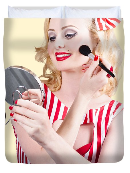 Retro Pin-up Woman Doing Beauty Make-up Duvet Cover