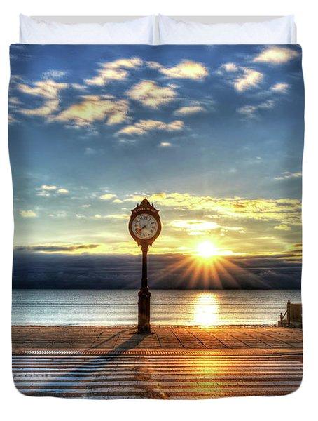 Revere Beach Clock At Sunrise Angled Long Shadow Revere Ma Duvet Cover