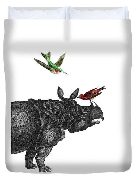 Rhinoceros With Birds Art Print Duvet Cover