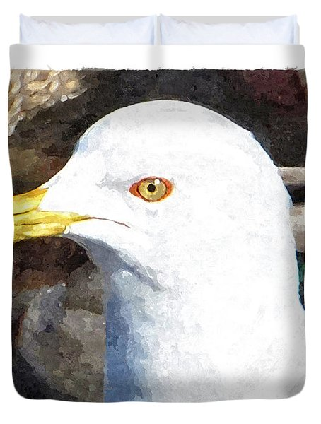 Ringbilled Gull Portrait Duvet Cover