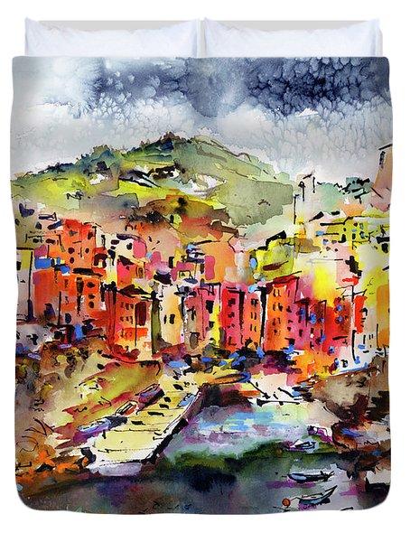Riomaggiore Cinque Terre Italy Duvet Cover