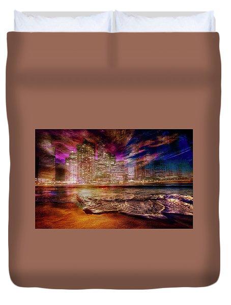 Rising Tide On The Hudson Montage Duvet Cover